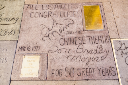 mann: LOS ANGELES - JUNE 26:  handprints of Ted Mann, Tom Bradley in Hollywood Boulevard on June 26,2012 in Los Angeles. There are nearly 200 celebrity handprints in the concrete of Chinese Theater.