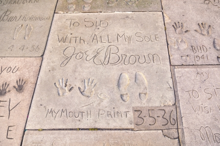 LOS ANGELES - JUNE 26:  handprints of Joel Brown in Hollywood on June 26,2012 in Los Angeles. There are nearly 200 celebrity handprints in the concrete of Chinese Theatres forecourt.
