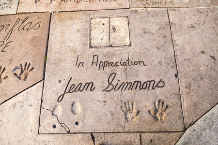 LOS ANGELES - JUNE 26:  handprints of Jean Simmons in Hollywood on June 26,2012 in Los Angeles. There are nearly 200 celebrity handprints in the concrete of Chinese Theatres forecourt.
