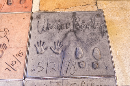 warren: LOS ANGELES - JUNE 26:  handprints of Warren Beatty in Hollywood on June 26,2012 in Los Angeles. There are nearly 200 celebrity handprints in the concrete of Chinese Theatres forecourt.