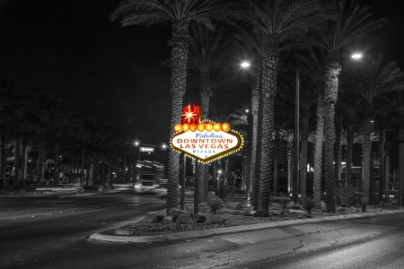 The downtown Las Vegas sign at night Editorial