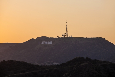 hollywood hills: sunset in hollywood mountains Editorial