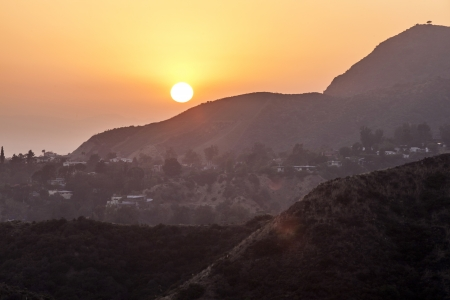 hollywood hills: sunset in hollywood mountains Stock Photo
