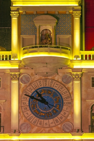LAS VEGAS - JUNE 15: facade of clocktower  of the  Venetian Resort Hotel on June 15, 2012. The resort opened on May 3, 1999 with flutter of white doves, singing gondoliers and actress Sophia Loren.