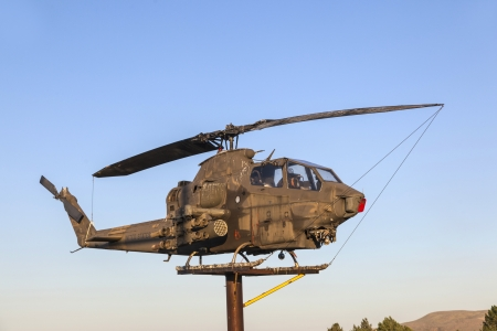 SUSANVILLE, USA JUNE 17: Bell Helicopter at Veterans Memorial on June 17,2012 in Susanville, USA. The memorial is dedicated especially to veterans of vietnam war.