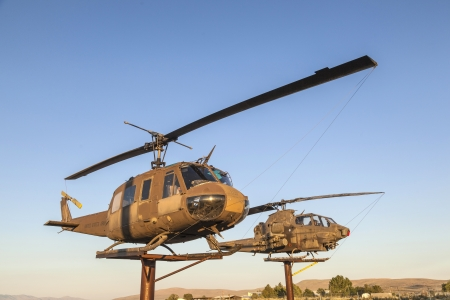 SUSANVILLE, USA JUNE 17: AH-1 Cobra and Bell Helicopters  at Veterans Memorial on June 17,2012 in Susanville, USA. The memorial is dedicated especially to veterans of vietnam war.