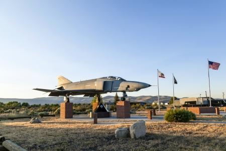 SUSANVILLE, USA JUNE 17: Phantom F4 Fighter at Veterans Memorial on June 17,2012 in Susanville, USA. The memorial is dedicated especially to veterans of vietnam war.