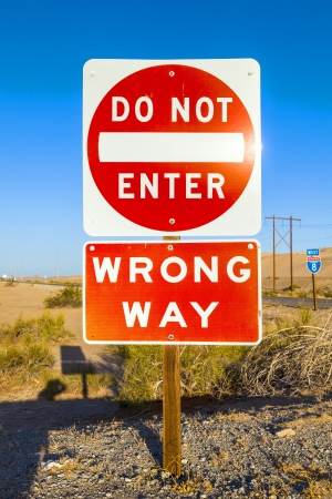 red do not enter Sign at the highway with blue sky Stock Photo - 14528636