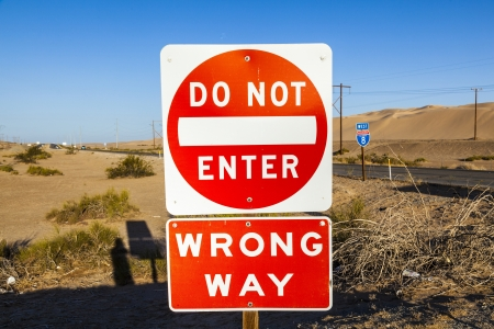 red do not enter Sign at the highway with blue sky Stock Photo - 14528882