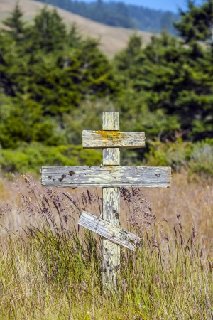 old wooden crosses at the historic orthodox cemetery of Fort Ross photo
