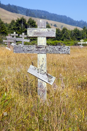 hebraism: old wooden crosses at the historic orthodox cemetery of Fort Ross
