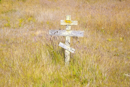 old wooden crosses at the historic orthodox cemetery of Fort Ross Stock Photo - 14529071