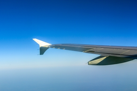 Aircraft wing some component of plane on during flying high above sky photo