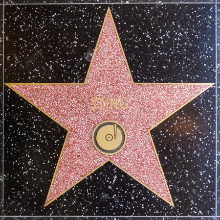 HOLLYWOOD - JUNE 24: Stings star on Hollywood Walk of Fame on June 24, 2012 in Hollywood, California. This star is located on Hollywood Blvd. and is one of 2400 celebrity stars. Stock Photo - 14611894