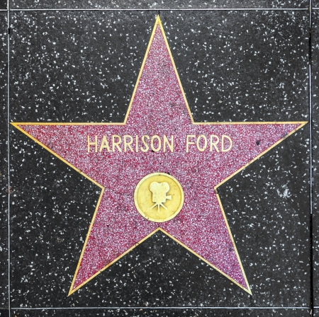 HOLLYWOOD - JUNE 24: Harrison Ford's star on Hollywood Walk of Fame on June 24, 2012 in Hollywood, California. This star is located on Hollywood Blvd. and is one of 2400 celebrity stars. Stock Photo - 14611886