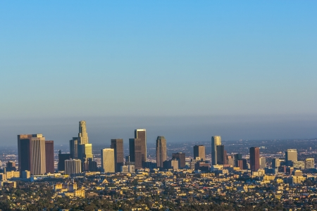city park skyline: view to downtown Los Angeles in the afternoon Editorial