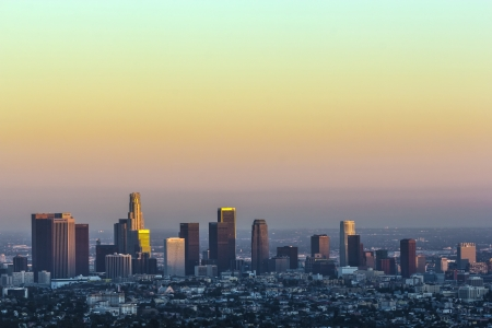 view to downtown Los Angeles in sunset