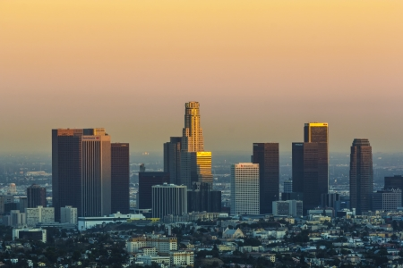 haze: view to downtown Los Angeles in sunset Editorial