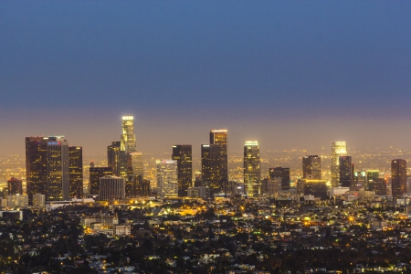 city park skyline: view to downtown Los Angeles by night Editorial