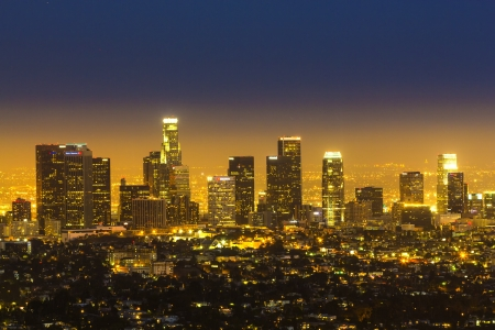 lax: view to downtown Los Angeles by night Editorial