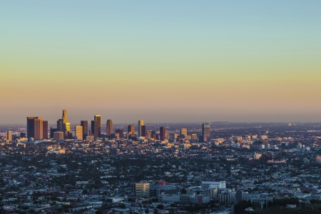 view to downtown Los Angeles in sunset photo