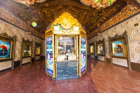 HOLLYWOOD, CA- JUNE 26: entrance of El Capitan Theatre, June 26, 2012 in Hollywood,CA. In the 1940s, 1735 Vine was renamed The El Capitan Theatre. It is running as cinema nowadays.