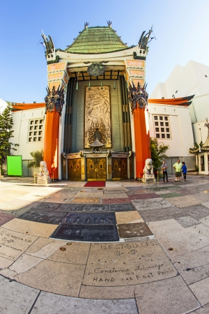 LOS ANGELES - JUNE 26: Graumans Chinese Theatre on June 26, 2012 in Los Angeles, CA. There are nearly 200 Hollywood celebrity handprints, footprints and autographs in the concrete of its forecourt. Stock Photo - 14612440
