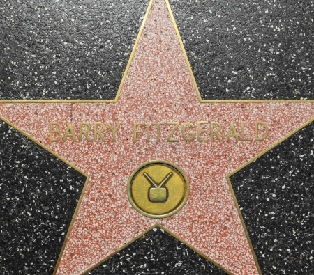 blvd: HOLLYWOOD - JUNE 26: Barry Fitzgeralds star on Hollywood Walk of Fame on June 26, 2012 in Hollywood, California. This star is located on Hollywood Blvd. and is one of 2400 celebrity stars. Editorial