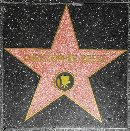blvd: HOLLYWOOD - JUNE 26: Christopher Reeves star on Hollywood Walk of Fame on June 26, 2012 in Hollywood, California. This star is located on Hollywood Blvd. and is one of 2400 celebrity stars.