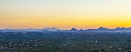 sunset with beautiful green cacti in Tuscon, Arizona photo