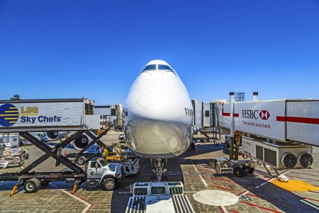 LOS ANGELES, USA - JUNE 9:  Lufthansa Boeing 747 parks at gate position  on June 29, 2012 in Los Angeles, USA. With 60 million passenger LAX is the third biggest airport in the US. Stock Photo - 14682543