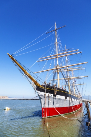 Vintage 1886 sailing ship, Balclutha on public display at San Francisco Maritime National Historical Park, California