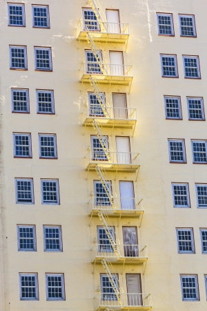 roosevelt hotel: facade of  Hotel with fire escape ladder Editorial