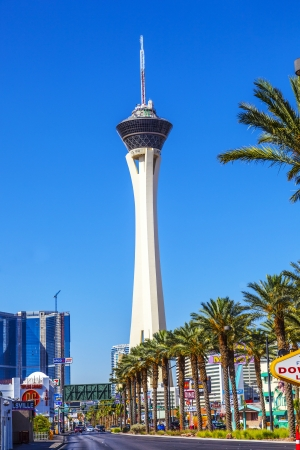 stratosphere: LAS VEGAS - JUNE 15: Stratosphere Las Vegas on June 15, 2012 in Vegas. Stratosphere Tower, 1,149 ft (350.2 m) high, is the tallest freestanding observation tower in the United States Editorial