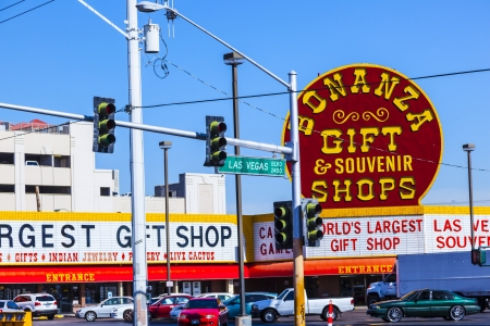 bonanza: LAS VEGAS - JUNE 15: traffic light of Las Vegas Boulevard and Bonanza Souvenir Sign Background  on June 15,2012 in Las Vegas, Nevada.