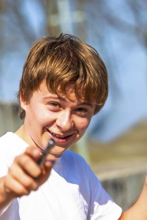 portrait of happy boy in nature Stock Photo - 14759455