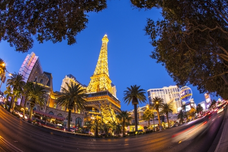 LAS VEGAS, NV - JUNE 15: Paris Las Vegas hotel and casino on June 15, 2012 in Las Vegas, Nevada, USA. It includes a half scale, 541-foot (165 m) tall replica of the Eiffel Tower
