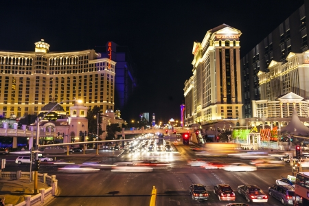 LAS VEGAS - JUNE 15: In this time lapse image, traffic travels along the Las Vegas strip on June 15, 2012 in Las Vegas, Nevada. The strip is approximately 4.2 mi (6.8 km) long.