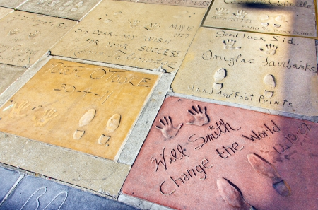 LOS ANGELES - JUNE 26:  handprints of Will Smith and Peter o Toole on June 26,2012 in Los Angeles. There are nearly 200 celebrity handprints in the concrete of Chinese Theatres forecourt.