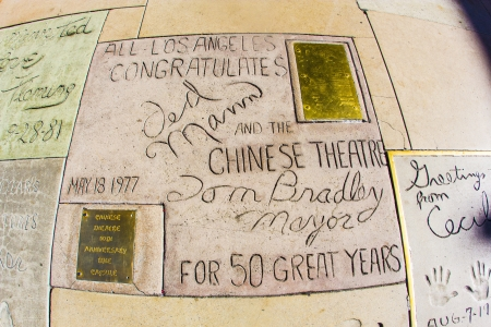 ted: LOS ANGELES - JUNE 26:  Signature of Ted Mann and Tom Bradley in Hollywood Boulevard on June 26,2012 in Los Angeles. There are nearly 200 celebrity handprints in the concrete of Chinese Theatres forecourt. Editorial