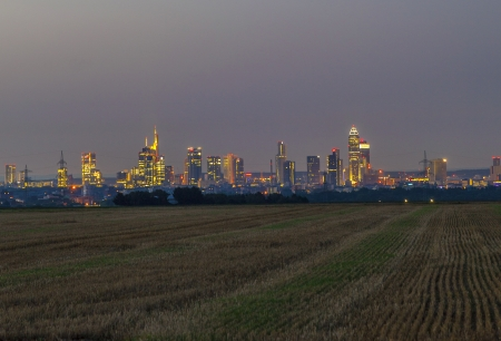 illuminated cityscape of  Frankfurt by night photo