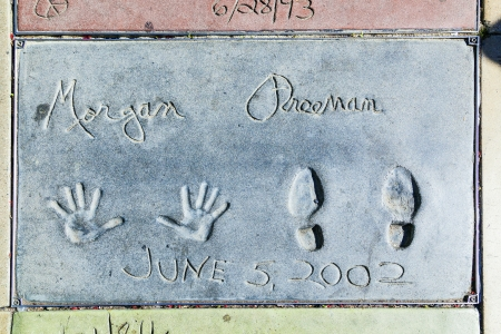 LOS ANGELES - JUNE 26: handprints of Morgan Freeman in Hollywood Boulevard on June 26,2012 in Los Angeles. There are nearly 200 celebrity handprints in the concrete of Chinese Theatre's forecourt.