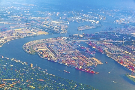 aerial of Hamburg, Germany seen from aircraft Stock Photo
