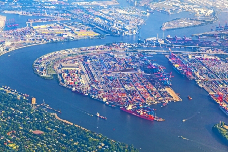 aerial of Hamburg, Germany seen from aircraft photo