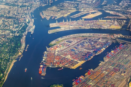 commercial docks: aerial of Hamburg, Germany seen from aircraft Stock Photo