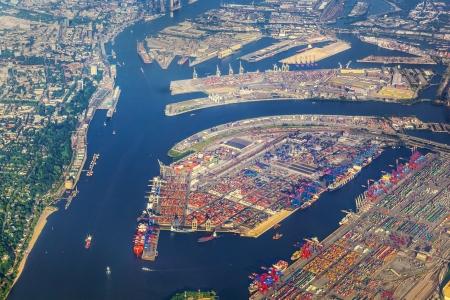 hamburg: aerial of Hamburg, Germany seen from aircraft Stock Photo