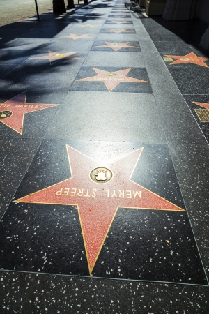 walk of fame: HOLLYWOOD - JUNE 26: Meryl Streeps star on Hollywood Walk of Fame on June 26, 2012 in Hollywood, California. This star is located on Hollywood Blvd. and is one of 2400 celebrity stars. Editorial