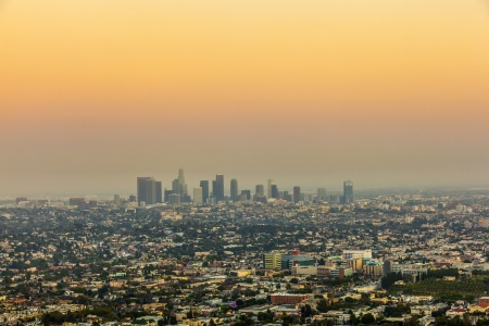 city of Los Angeles in sunset photo