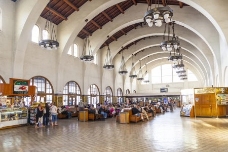 center hall colonial: SAN DIEGO, USA - JUNE 11: people wait for the trains inside Union Station on June 11, 2012 in San Diego, USA. The Spanish Colonial Revival style station opened on March 8, 1915 as Santa Fe Depot.