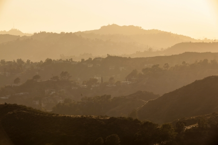 sunset in Hollywood forest, Los Angeles photo